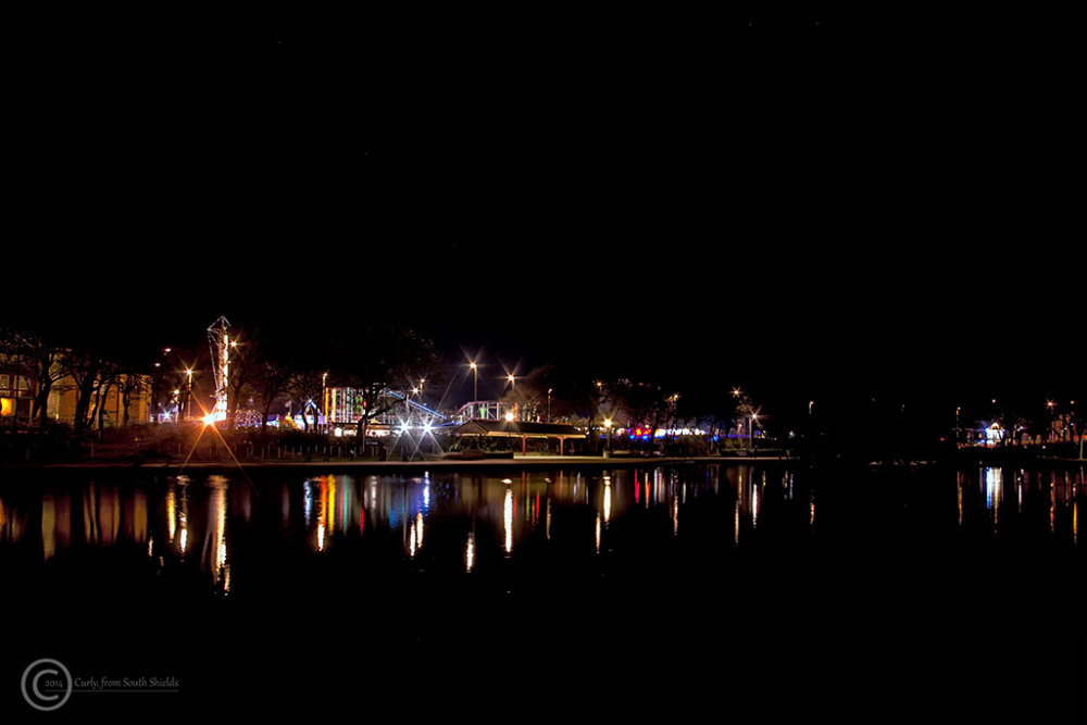 South Marine Park, South Shields at night