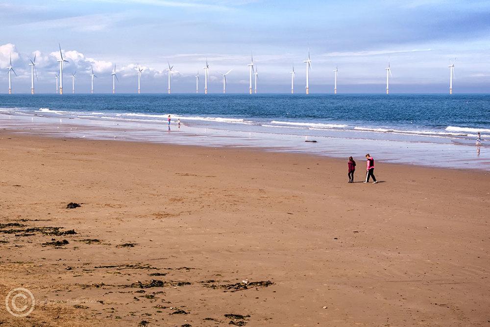Wind farm at Redcar, England.