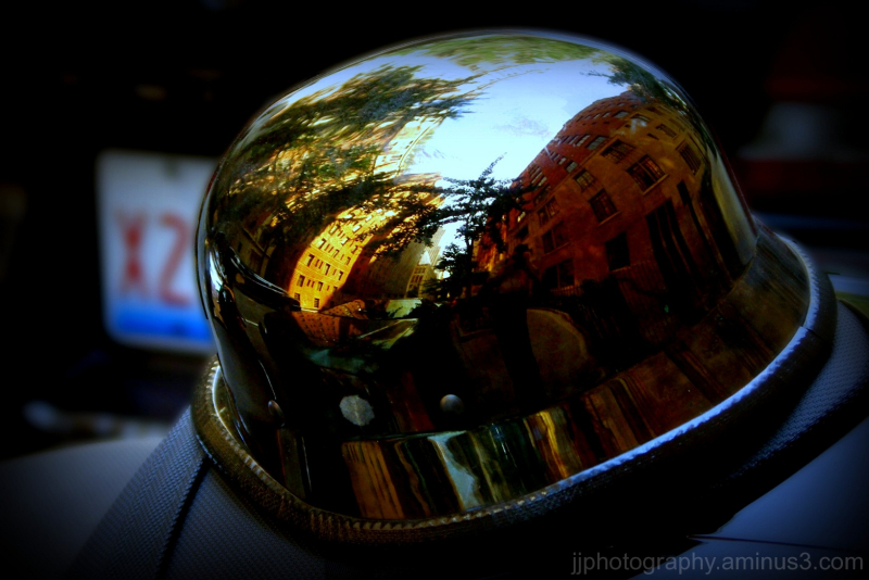 helmet with city reflections