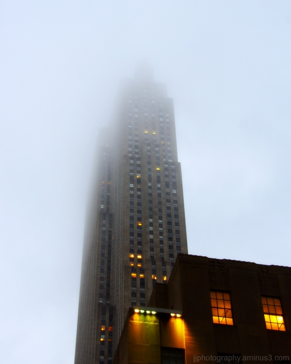 Rising into the fog