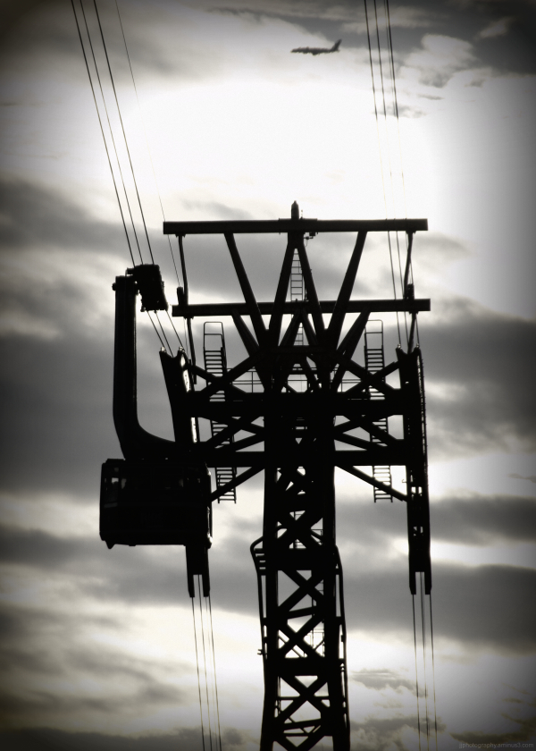silhouette of tram tower