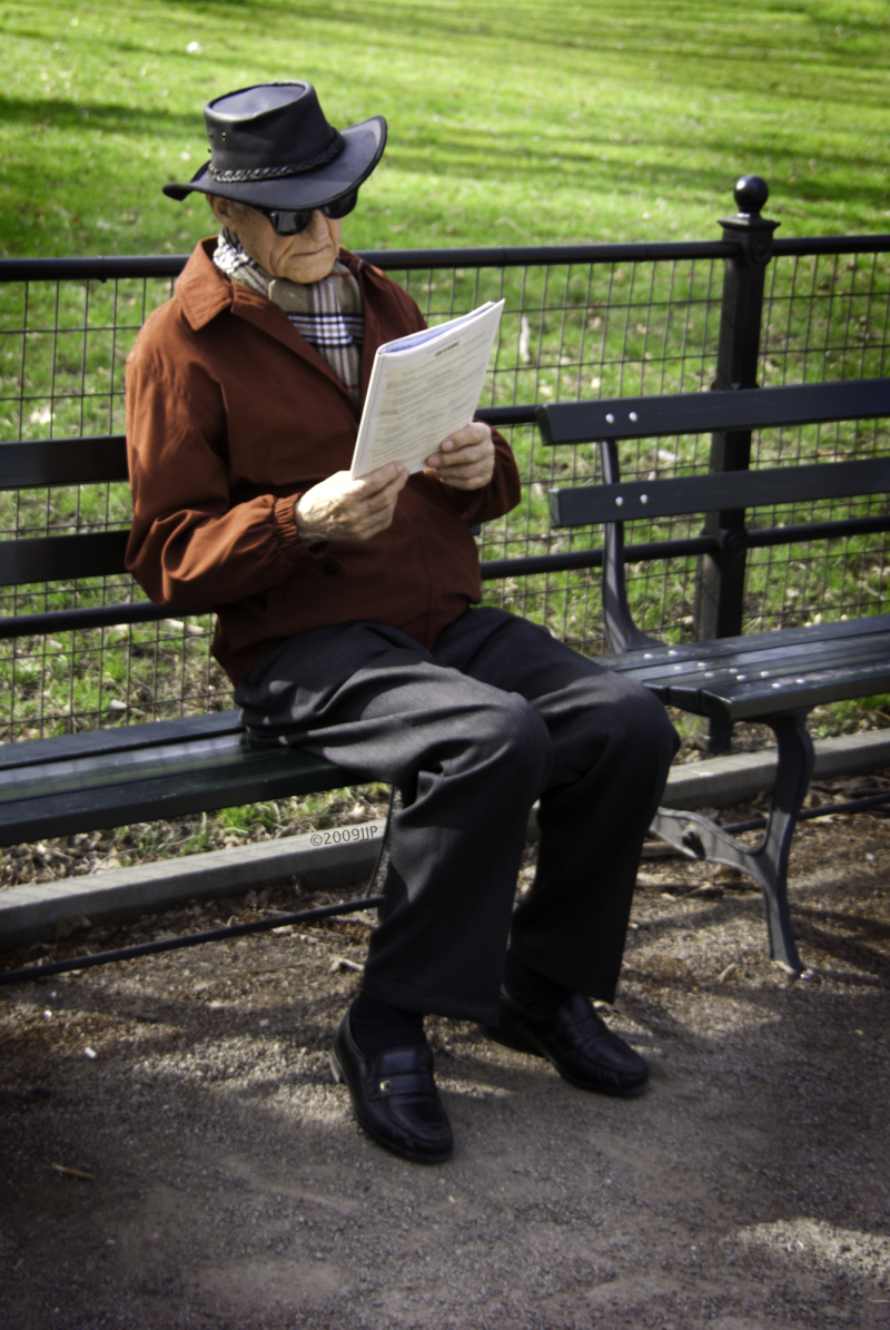 Reading a Paper in Central park