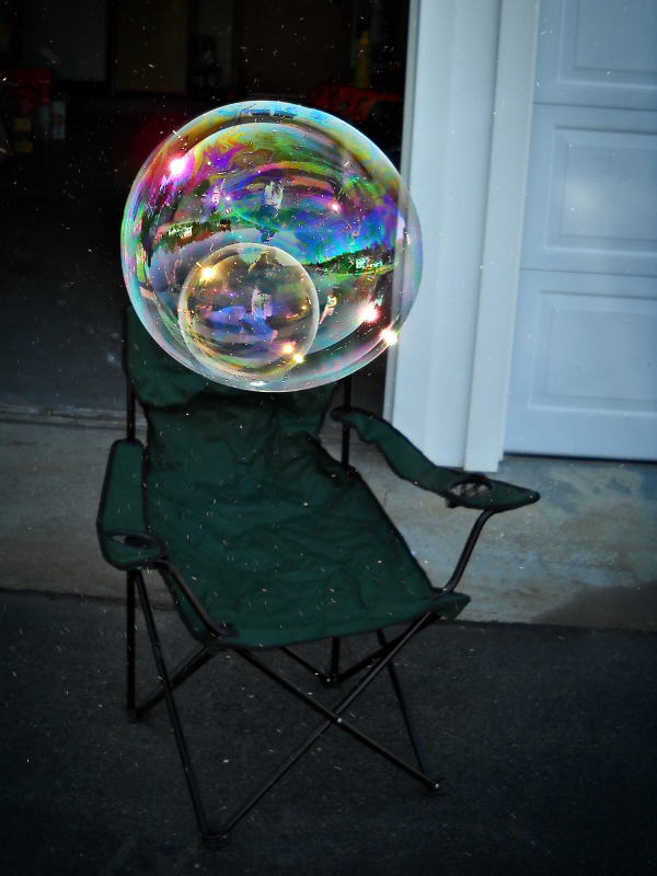 Bubbles above a chair