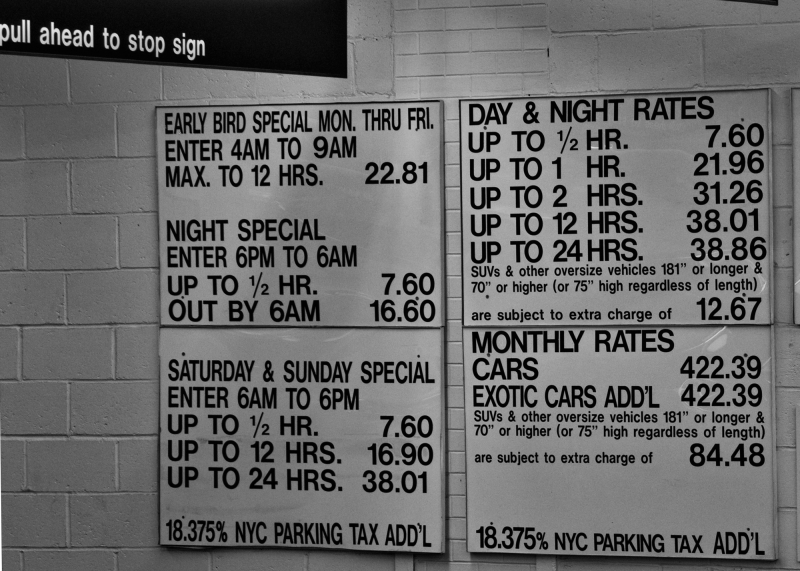 Parking fees, NYC