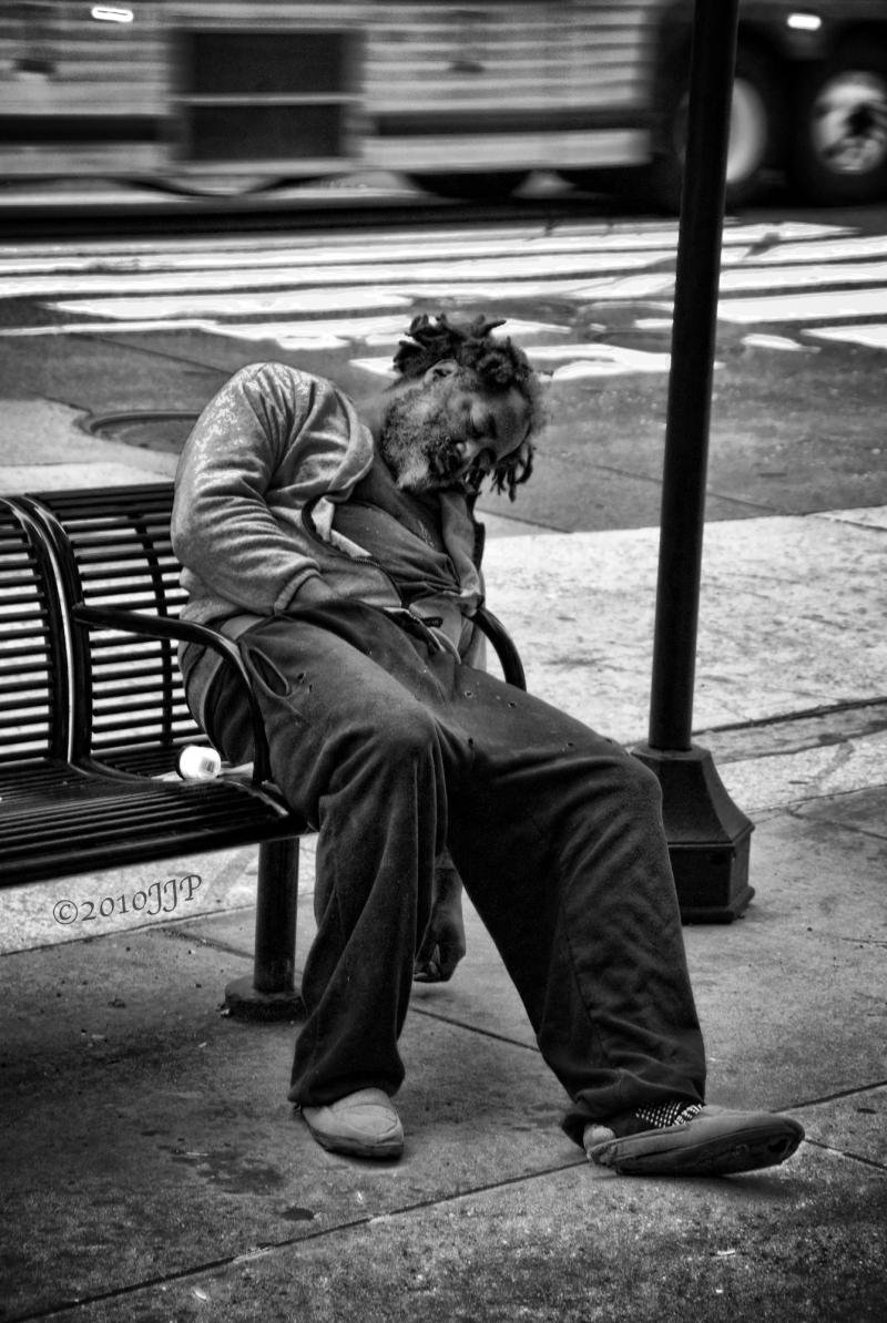Asleep on the street
