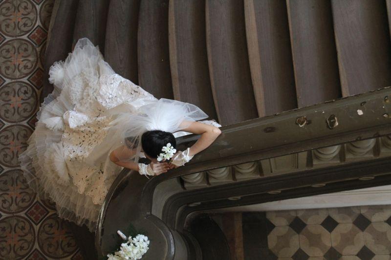 Bride Playing hide and seek