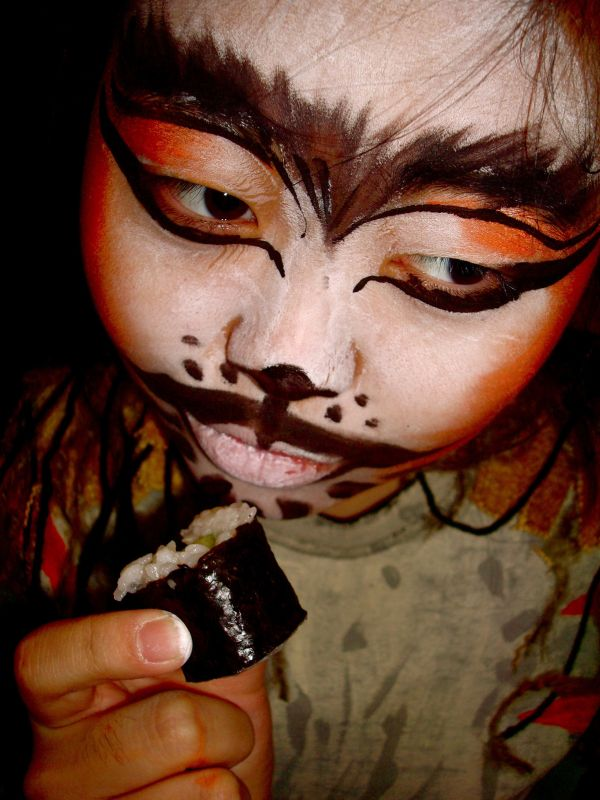 a person in cat makeup
