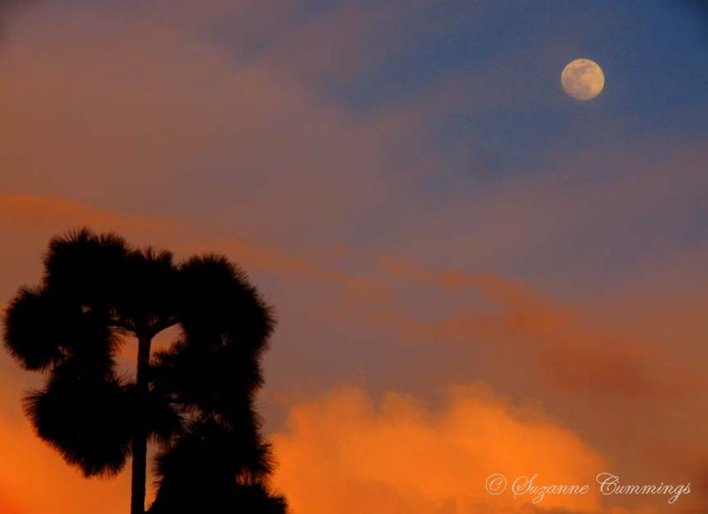 Moon at Sunset, Huntington Beach, California