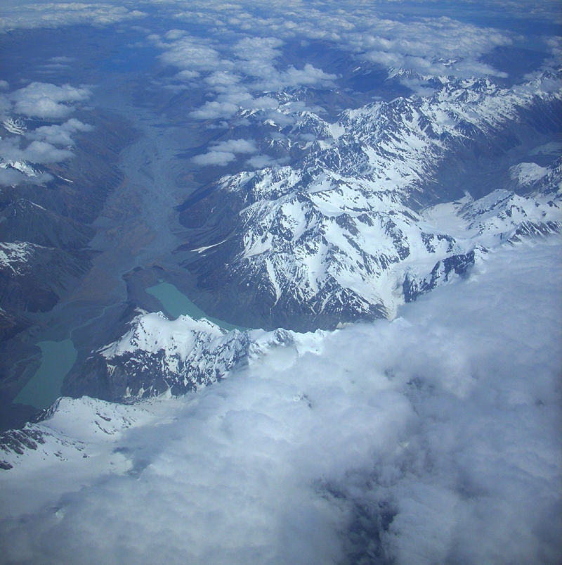 aerial view of the southern alps, new zealand