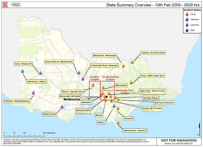 bushfire #5 - map of fire situation in Victoria