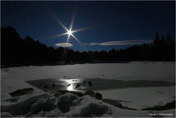 Star light on the frozen lake