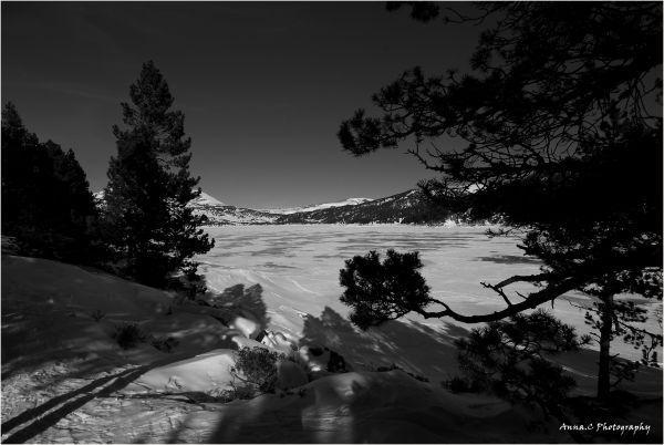 Autour du lac gelé des Bouillouses