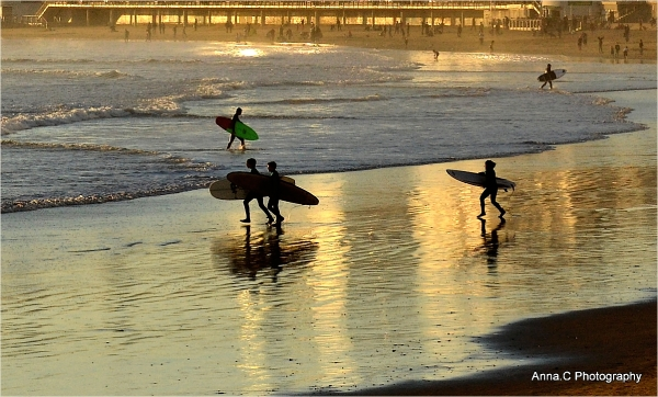 Surf at sunset
