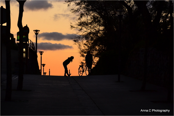 Silhouettes in sunset