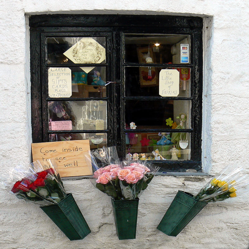 shop window, Fowey, Cornwall