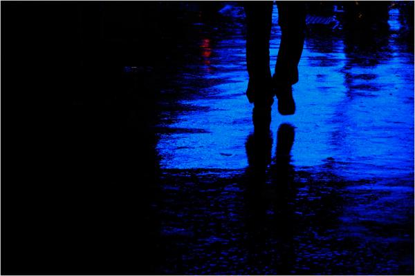 couleur bleu d'une marche