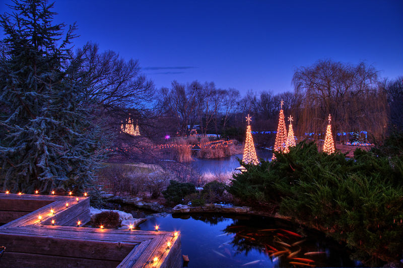 Chirstmas light show at Botanica, Wichita Gardesn