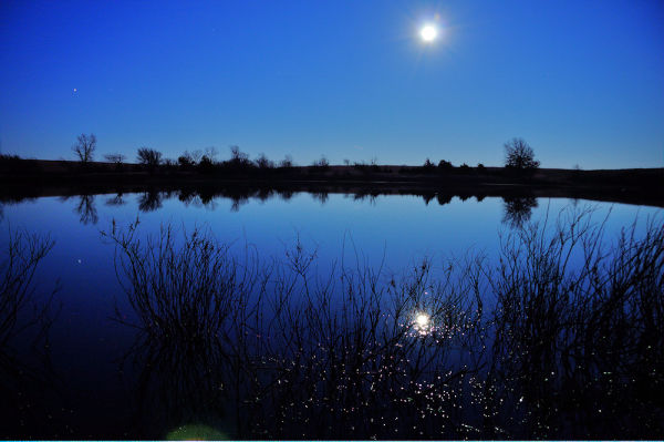 full moon and night sky reflect in farm pond