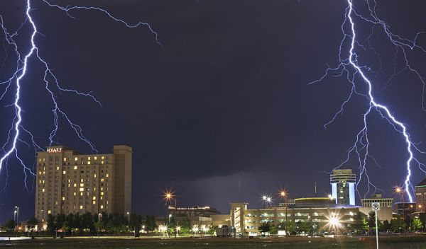 lightning flashes over wichita kansas