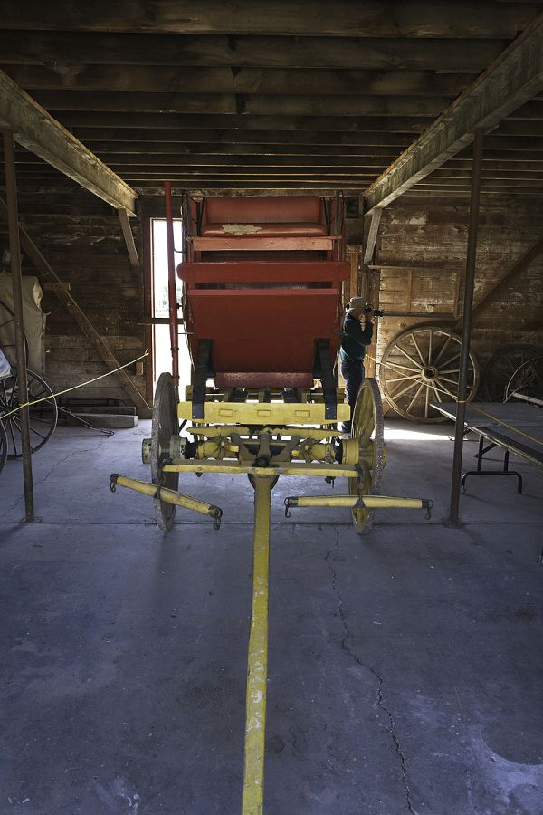 stage coach in barn
