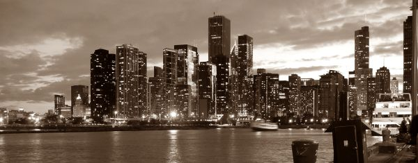 Chicago Skyline at night as seen from Navy Pier