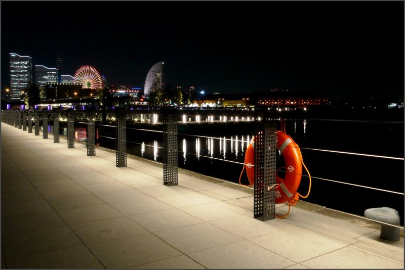 The sidewalk of the port yokohama night view LEICA