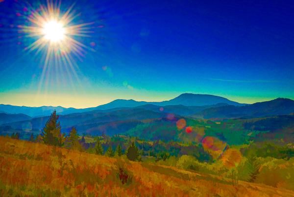 Sunburst Over the Coastal Range (Topaz Simplify)
