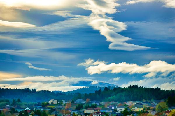 """Clouds Over Mary's Peak"" Topaz Simplify, BuzSim"