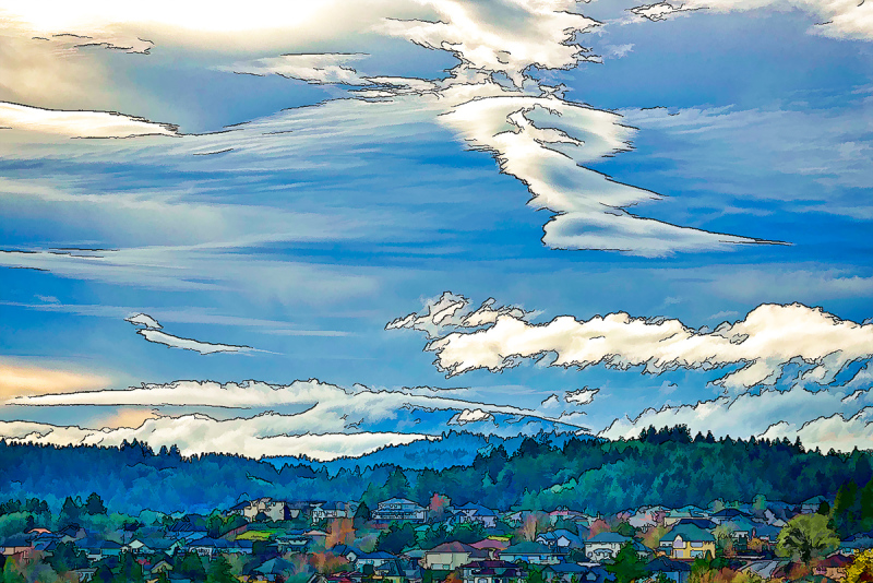 """""""Clouds Over Mary's Peak"""" Topaz Simplify, Line&Ink"""