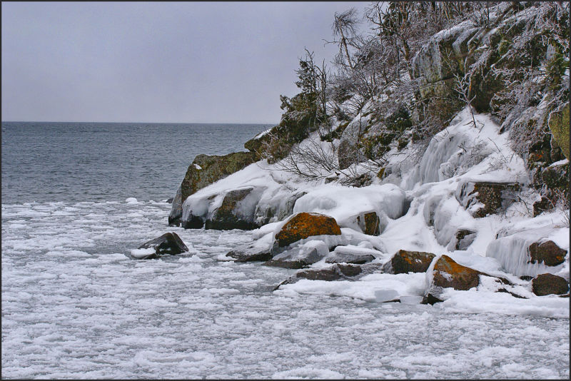 ice on shoreline