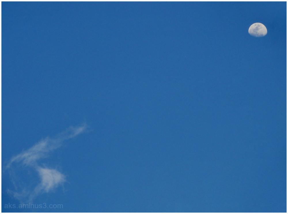 Moon, sky and cloud