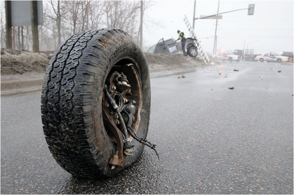 Wheel standing after crash
