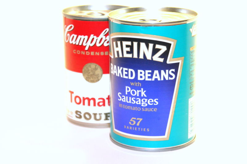 tomato soup and baked beans cans