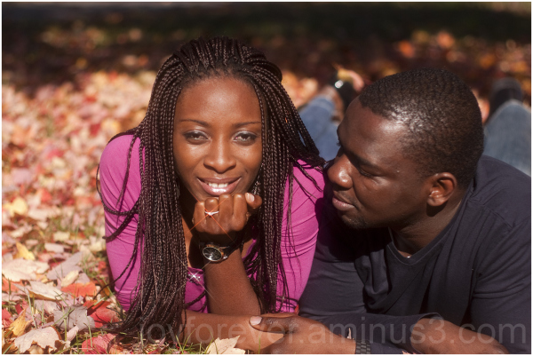 Valentine's Fall lovers foliage couple engagement