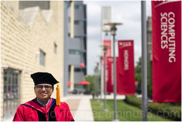 PhD Commencement Self Portrait NJIT cap gown red