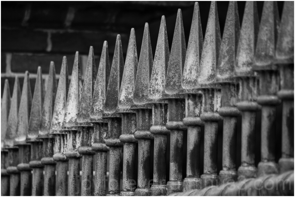 Fence shallow-DoF road abstract Black&White iron