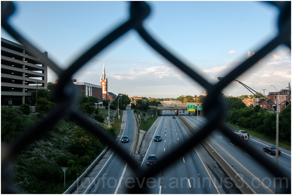 highway road fence church cars bridge Columbus