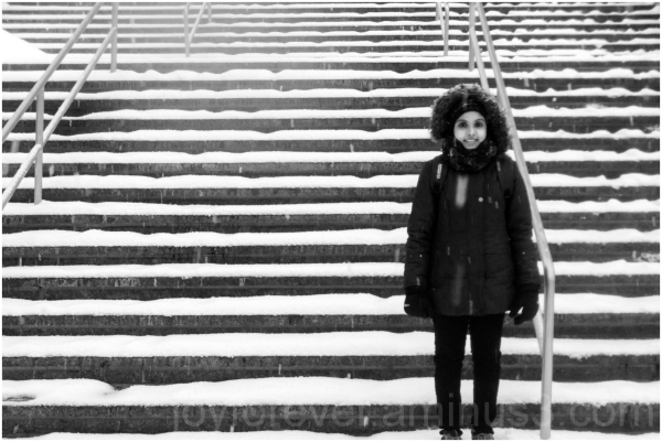 stairs snow woman black-and-white winter