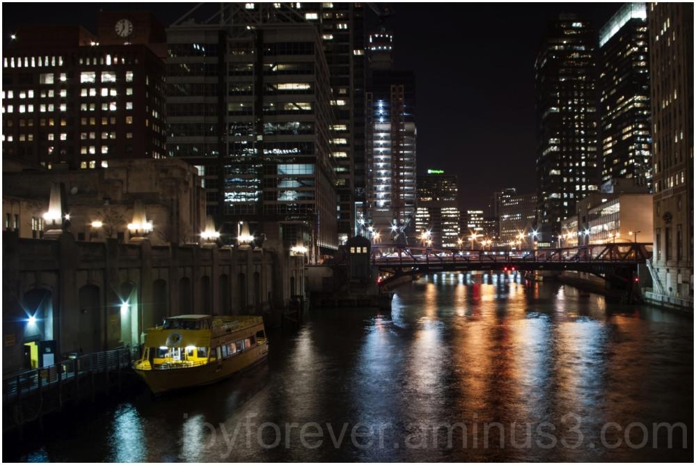 Chicago skyline cityscape river bridge night light