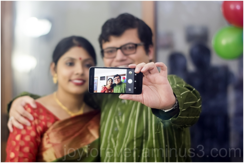 man woman indian couple anniversary selfie