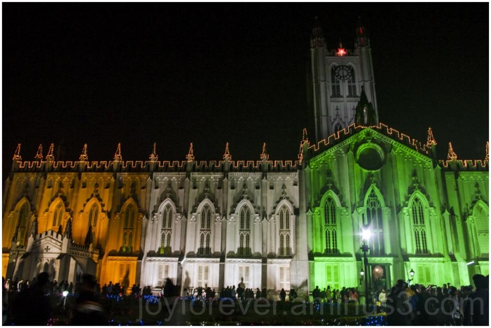 India Independence tricolor church StPauls Kolkata