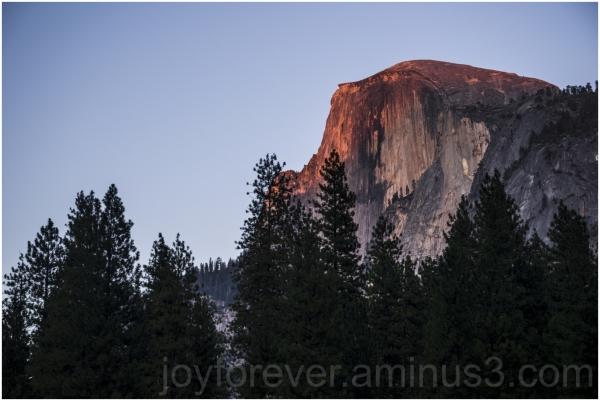 halfdome mountain granite cliff yosemite sunset CA