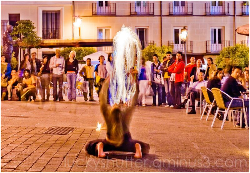 Fire performer in Madrid