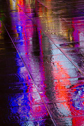 Rainy Neon Reflection