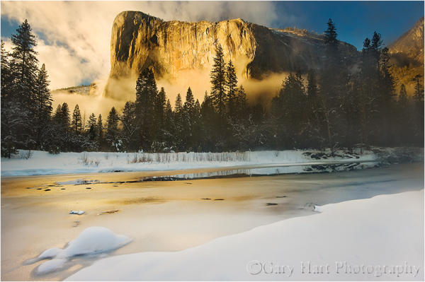 El Capitan and the Merced Winter in the snow