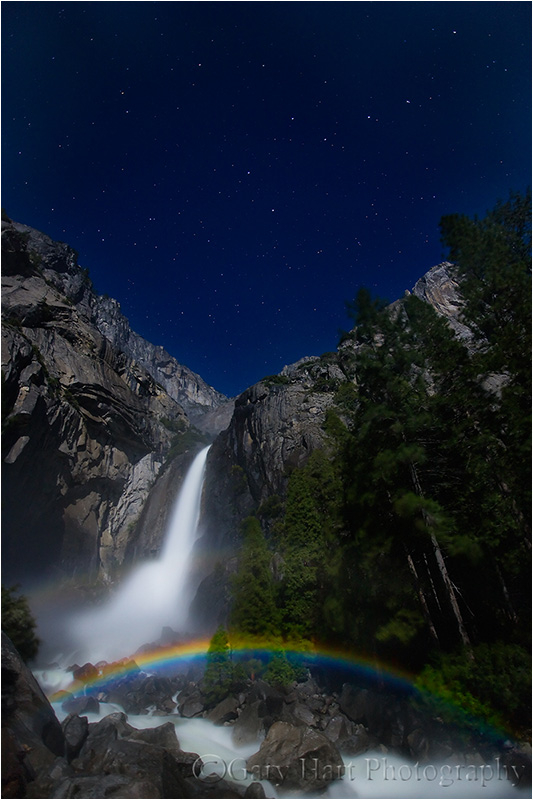Lower Yosemite Fall and moonbow beneath Big Dipper