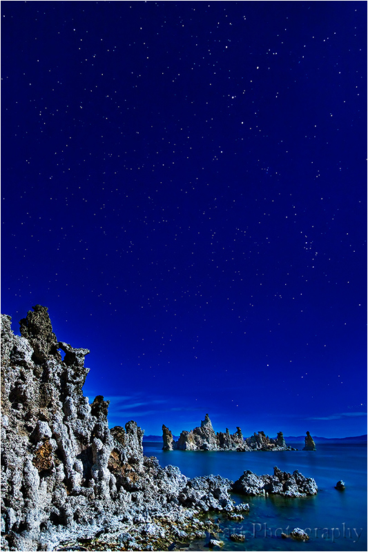 Mono Lake's tufa towers bathed in moonlight