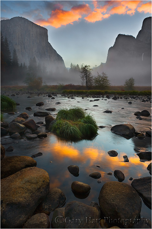 El Capitan and clouds reflected at sunrise