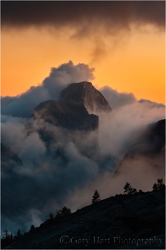 Half Dome emerging from the clouds, Olmsted Point