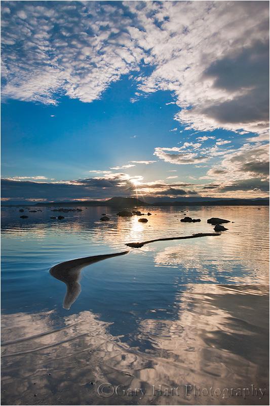 The day's first rays illuminate Mono Lake